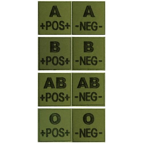 Insigne groupe sanguin 5 x 5cm vert